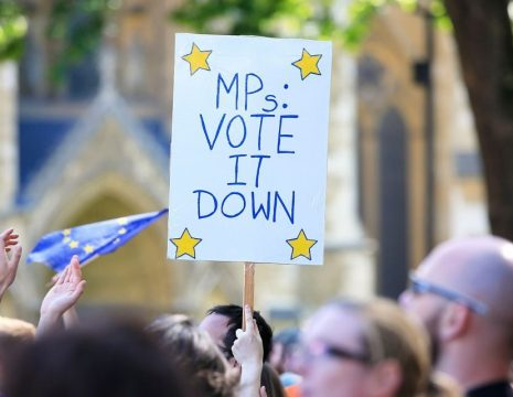 A woman holds a sign in Parliament Square, London, as Remain supporters gather to take part in the March for Europe rally to show their support for the European Union in the wake of Brexit. PRESS ASSOCIATION Photo. Picture date: Saturday July 2, 2016. See PA story POLITICS Protest. Photo credit should read: Jonathan Brady/PA Wire